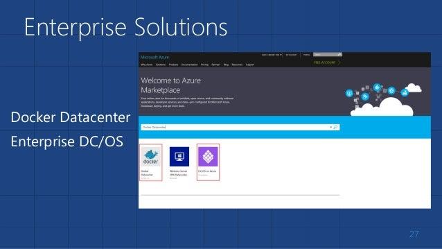 Enterprise Solutions 27 Docker Datacenter Enterprise DC/OS