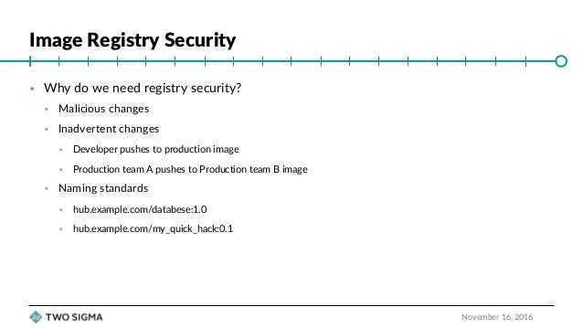 """ContainerDays NYC 2016: """"Securing Your Docker Image Registry for Production"""" (Jason Heiss) Slide 3"""