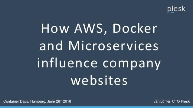 How AWS, Docker and Microservices influence company websites Container Days, Hamburg, June 28th 2016 Jan Löffler, CTO Plesk