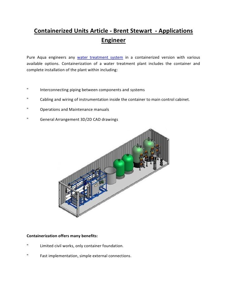 Containerized Units Article - Brent Stewart - Applications                             Engineer  Pure Aqua engineers any w...