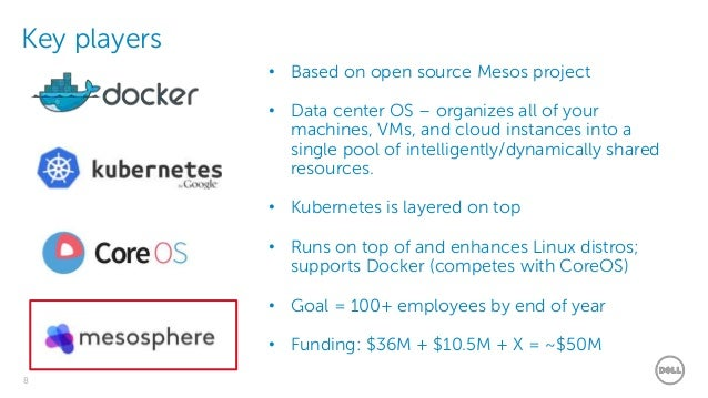 Dell - Restricted - Confidential8 Key players • Based on open source Mesos project • Data center OS – organizes all of you...