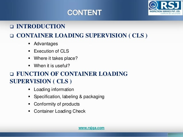 Container loading inspection Slide 3