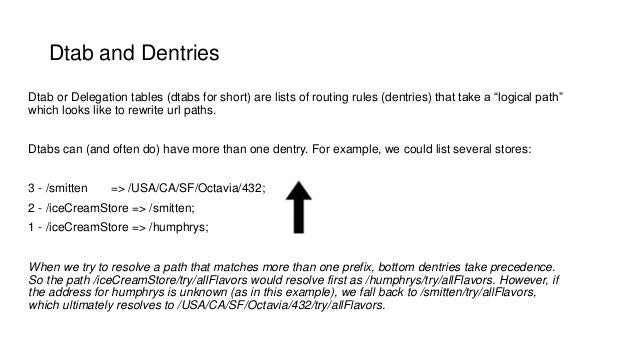 """Dtab and Dentries Dtab or Delegation tables (dtabs for short) are lists of routing rules (dentries) that take a """"logical p..."""