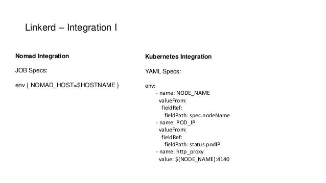 Linkerd – Integration I Nomad Integration JOB Specs: env { NOMAD_HOST=$HOSTNAME } Kubernetes Integration YAML Specs: env: ...