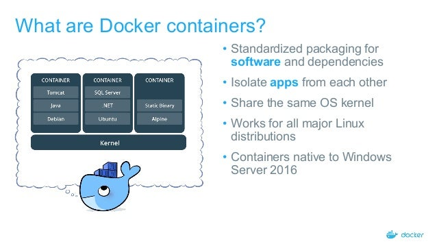 Containers - Portable, repeatable user-oriented application
