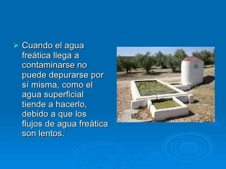 <ul><li>Cuando el agua freática llega a contaminarse no puede depurarse por sí misma, como el agua superficial tiende a ha...