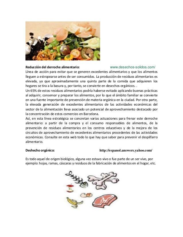 Reducción del derroche alimentario: www.desechos-solidos.com/Línea de acción para evitar que se generen excedentes aliment...