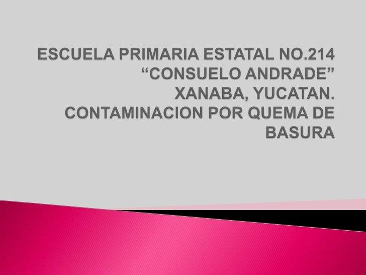    EVITAR LA INCINERACION DE BASURA EN LAS    VIVIENDAS DE LA COMUNIDAD DE XANABA PARA    DISMINUIR LA CONTAMINACION AMBI...
