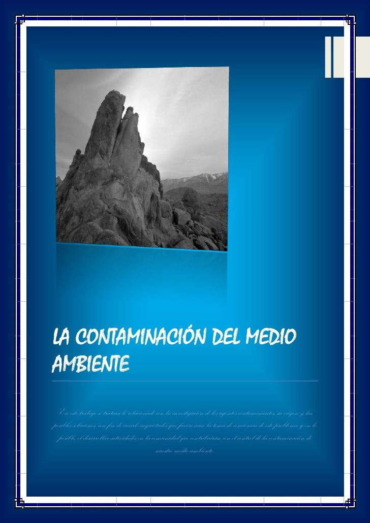 UNIVERSIDAD PRIVADA DE TACNA                                             7 de mayo de 2012LA CONTAMINACIÓN DEL MEDIOAMBIEN...
