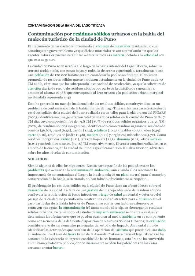 CONTAMINACION DE LA BAHIA DEL LAGO TITICACA Contaminación por residuos sólidos urbanos en la bahía del malecón turístico d...