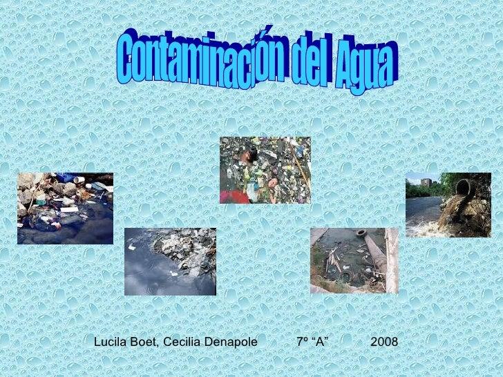 """Lucila Boet, Cecilia Denapole  7º """"A""""  2008 Contaminación  del  Agua"""