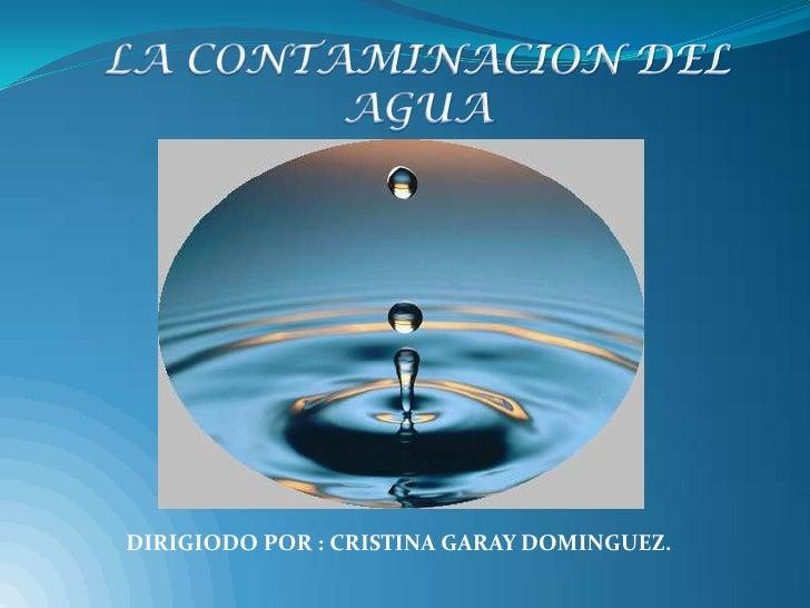 DIRIGIODO POR : CRISTINA GARAY DOMINGUEZ.
