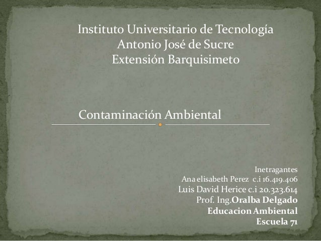 Instituto Universitario de Tecnología Antonio José de Sucre Extensión Barquisimeto Contaminación Ambiental Inetragantes An...