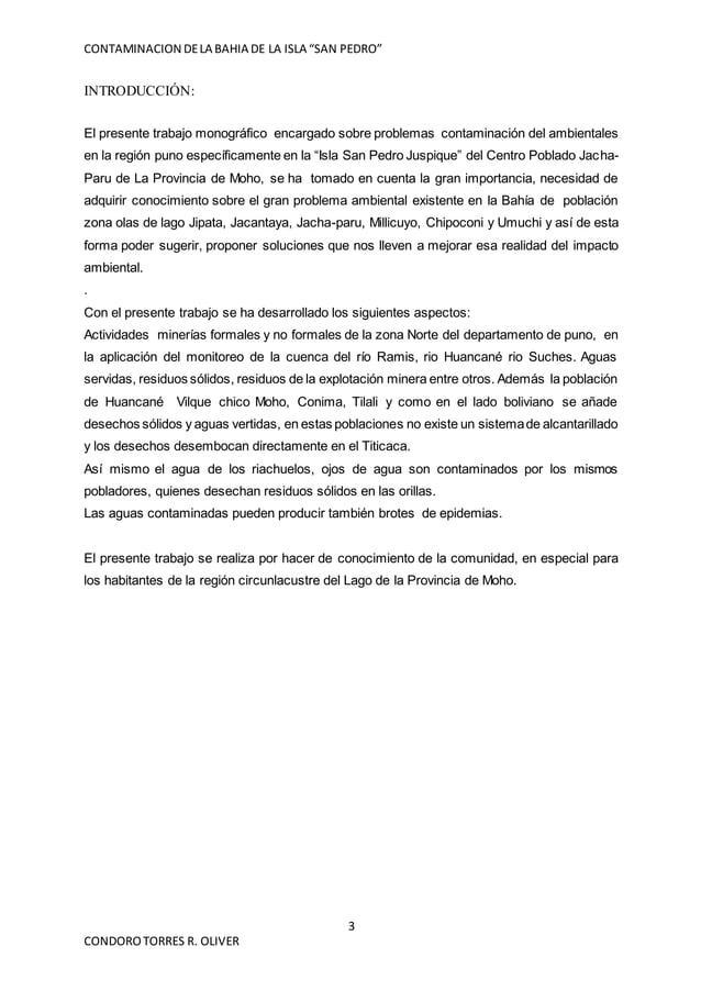 """CONTAMINACION DELA BAHIA DE LA ISLA """"SAN PEDRO"""" 3 CONDOROTORRES R. OLIVER INTRODUCCIÓN: El presente trabajo monográfico en..."""