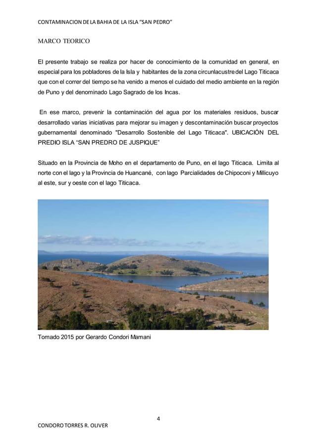 """CONTAMINACION DELA BAHIA DE LA ISLA """"SAN PEDRO"""" 4 CONDOROTORRES R. OLIVER MARCO TEORICO El presente trabajo se realiza por..."""