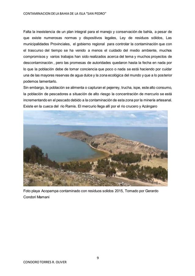 """CONTAMINACION DELA BAHIA DE LA ISLA """"SAN PEDRO"""" 9 CONDOROTORRES R. OLIVER Falta la inexistencia de un plan integral para e..."""