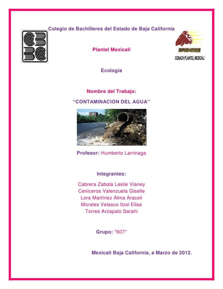 Colegio de Bachilleres del Estado de Baja California                  Plantel Mexicali                     Ecología       ...