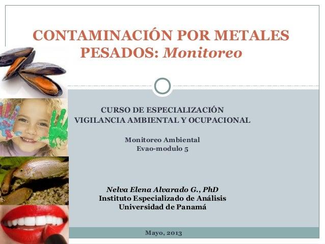 CURSO DE ESPECIALIZACIÓNVIGILANCIA AMBIENTAL Y OCUPACIONALMonitoreo AmbientalEvao-modulo 5CONTAMINACIÓN POR METALESPESADOS...