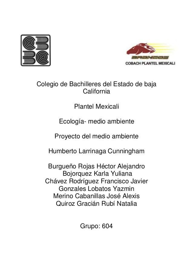 Colegio de Bachilleres del Estado de baja               California            Plantel Mexicali       Ecología- medio ambie...