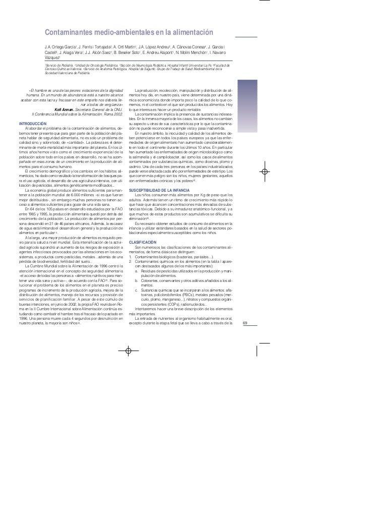Contaminantes medio-ambientales en la alimentación                 J.A. Ortega García1, J. Ferrís i Tortajada2, A. Ortí Ma...