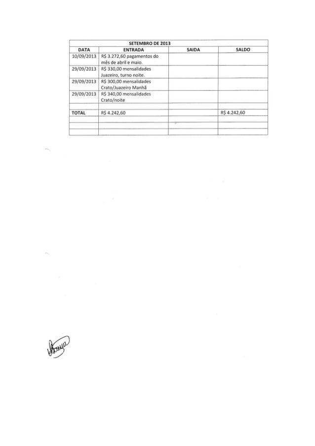 SETEMBRO DE 2013  DATA ENTRADA SAIDA _T_ SALDO 10/09/2013 RS 3.272,60 pagamentos do mês de abril e maio.  29/09/2013 RS 33...
