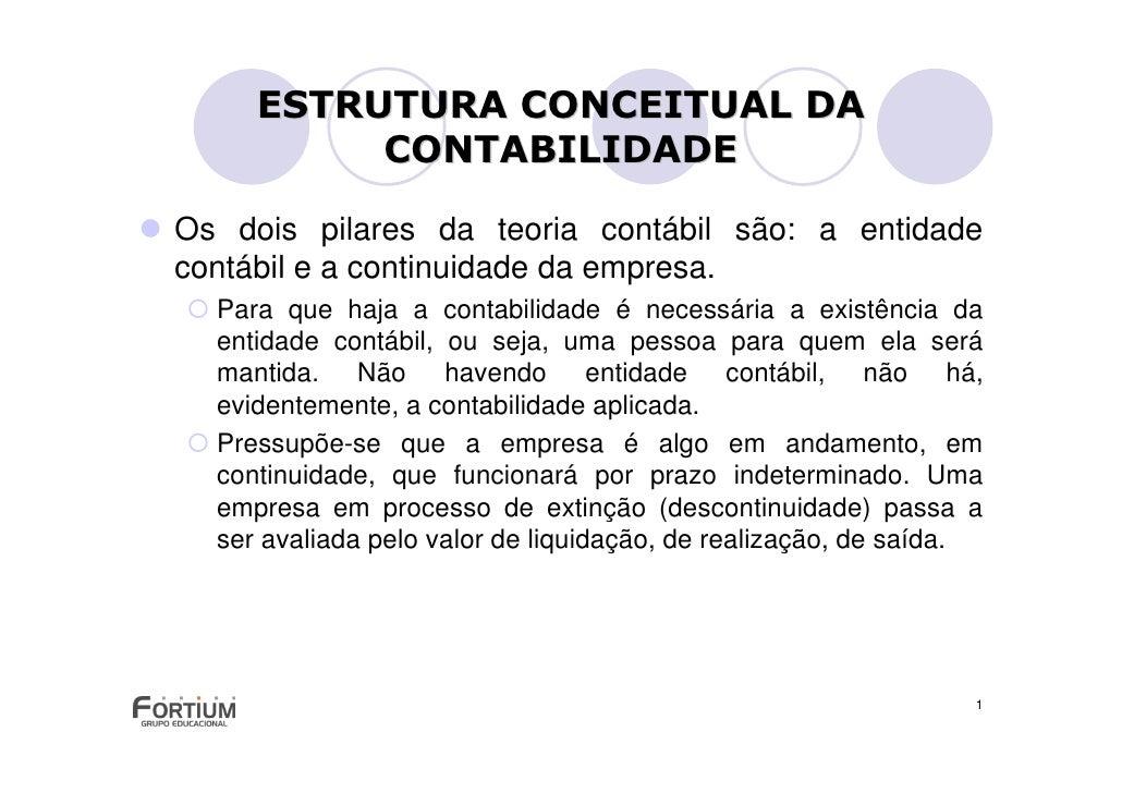 ESTRUTURA CONCEITUAL DA           CONTABILIDADE  Os dois pilares da teoria contábil são: a entidade contábil e a continuid...