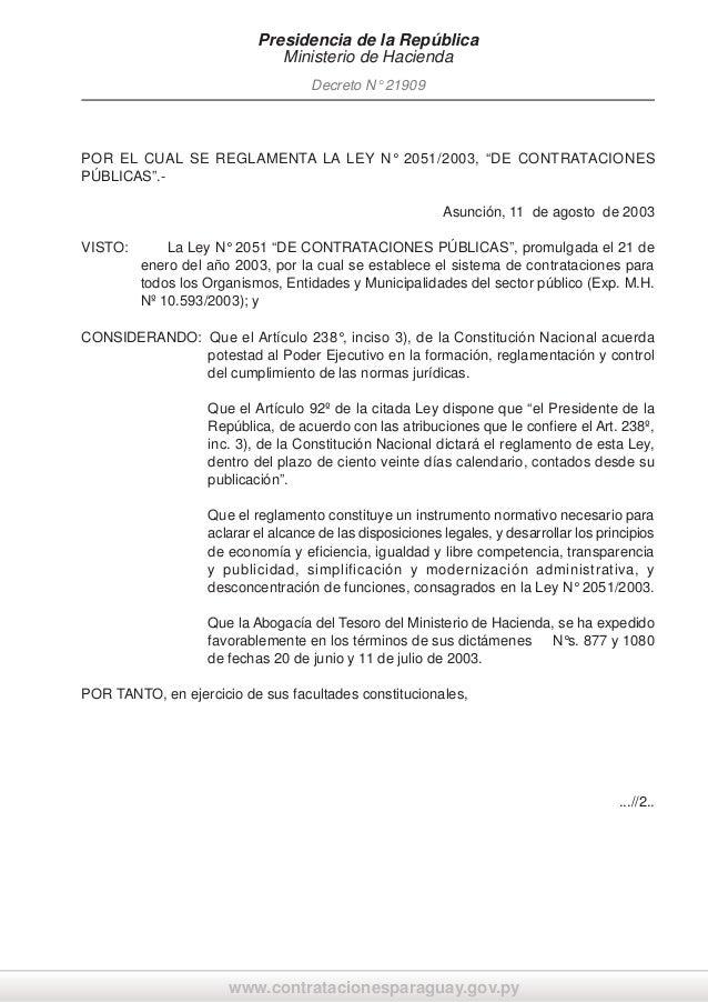 """Presidencia de la República Ministerio de Hacienda Decreto N° 21909  POR EL CUAL SE REGLAMENTA LA LEY N° 2051/2003, """"DE CO..."""