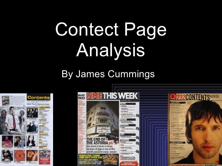 Contect Page Analysis By James Cummings