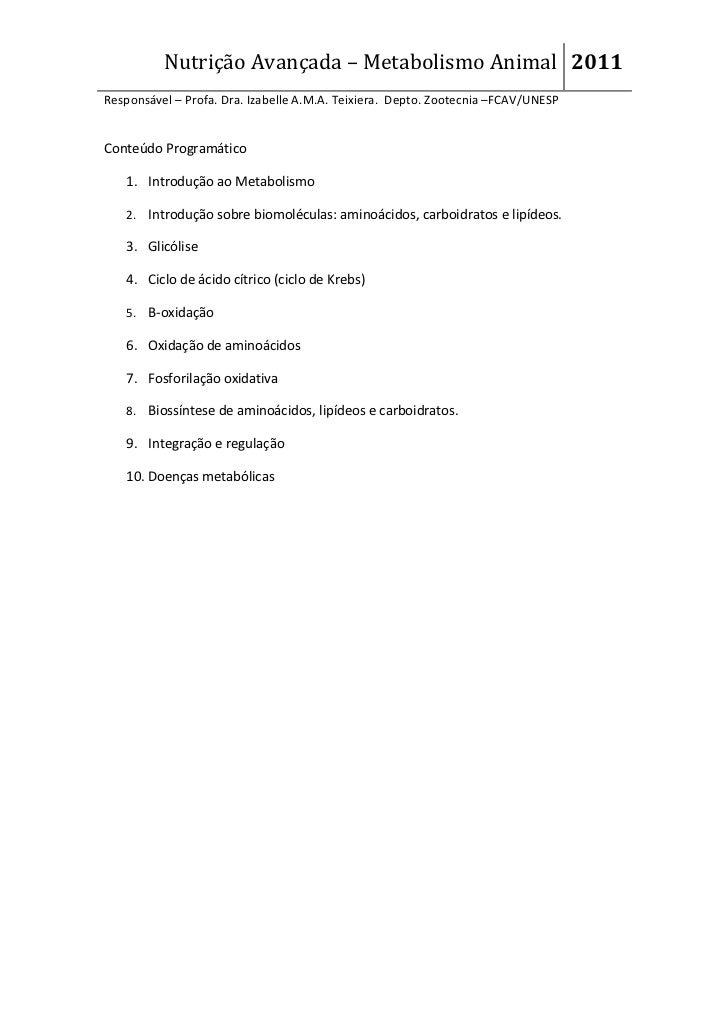 Nutrição Avançada – Metabolismo Animal 2011Responsável – Profa. Dra. Izabelle A.M.A. Teixiera. Depto. Zootecnia –FCAV/UNES...