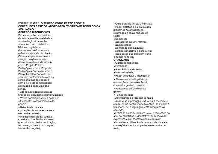 ESTRUTURANTE: DISCURSO COMO PRÁTICA SOCIAL<br />CONTEÚDOS BÁSICOS ABORDAGEM TEÓRICO-METODOLÓGICA AVALIAÇÃO<br />GÊNEROS DI...