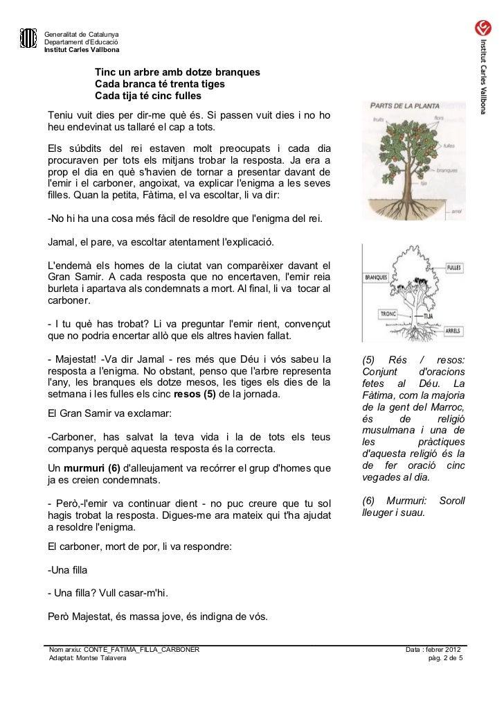 Generalitat de CatalunyaDepartament d'EducacióInstitut Carles Vallbona                Tinc un arbre amb dotze branques    ...