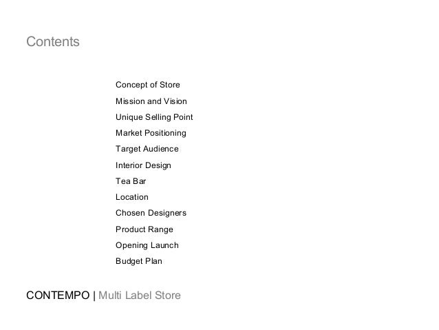 Group Project Proposal For Multi-Label Concept Store, Contempo. 2011.