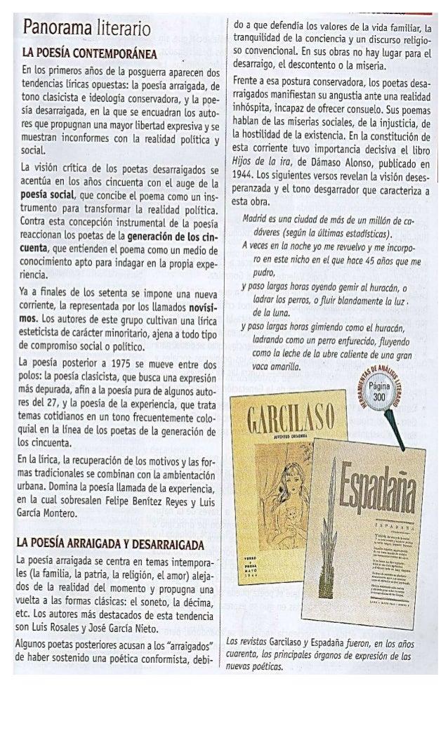 Panorama literarío LA POESÍA CONTEMPORÂNEA _  En los primeros años de la posguerra aparecen dos tendencias liricas opuesta...