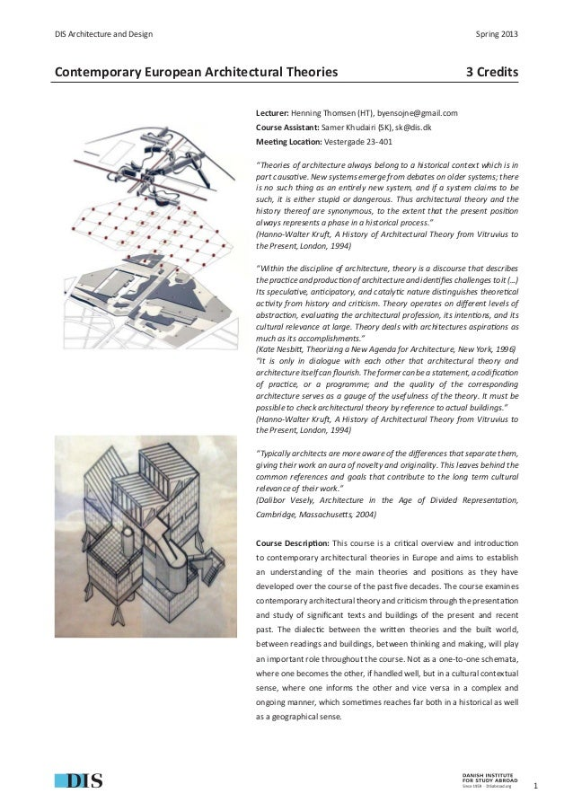DIS Architecture and Design                                                                    Spring 2013Contemporary Eur...