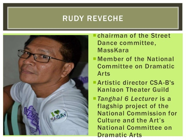 chairman of the Street Dance committee, MassKara Member of the National Committee on Dramatic Arts Artistic director CS...