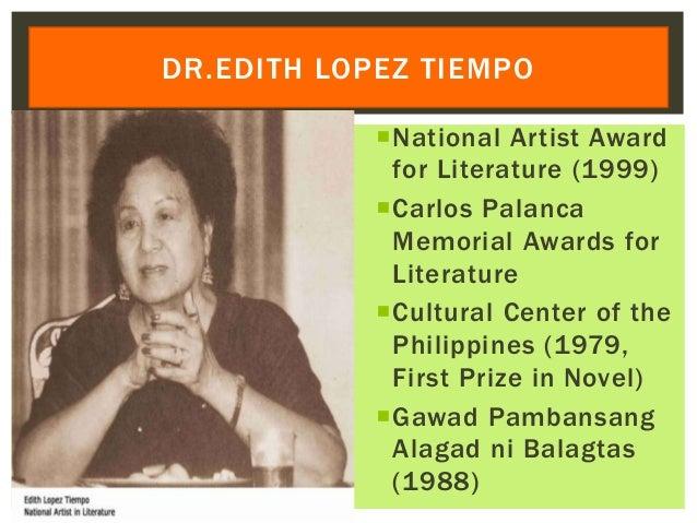 National Artist Award for Literature (1999) Carlos Palanca Memorial Awards for Literature Cultural Center of the Philip...