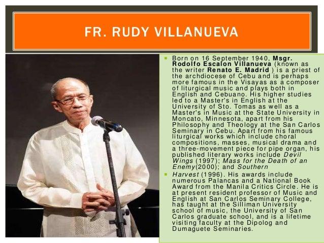  Born on 16 September 1940, Msgr. Rodolfo Escalon Villanueva (known as the writer Renato E. Madrid ) is a priest of the a...