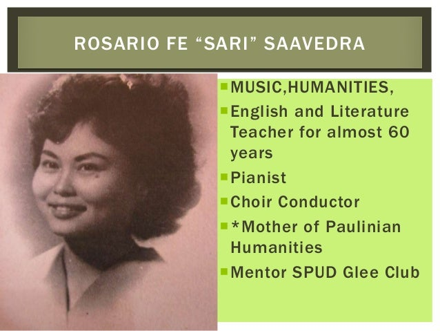 MUSIC,HUMANITIES, English and Literature Teacher for almost 60 years Pianist Choir Conductor *Mother of Paulinian Hum...