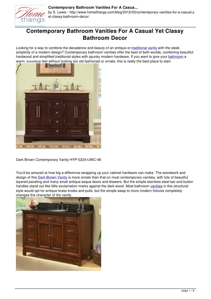 Contemporary Bathroom Vanities For A Casua...                    by S. Lewis - http://www.homethangs.com/blog/2012/03/cont...
