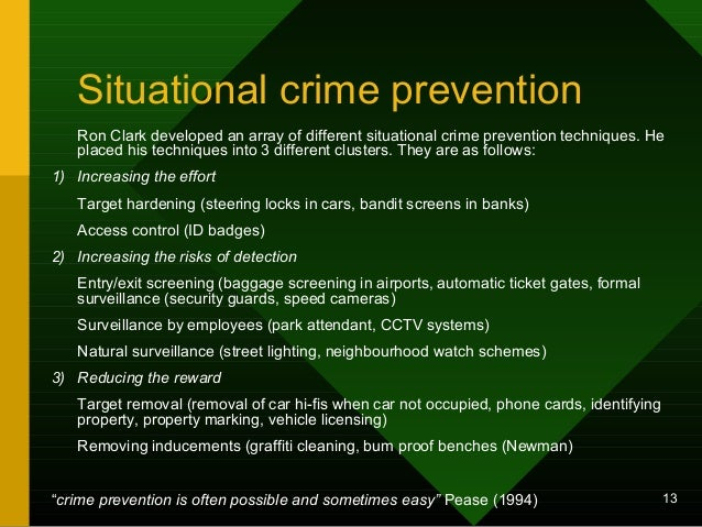 crime prevention outline Crime prevention: approaches, practices & evaluations  you do not have to submit an outline this week, i will outline chapter 1 (pages 1 – 25).