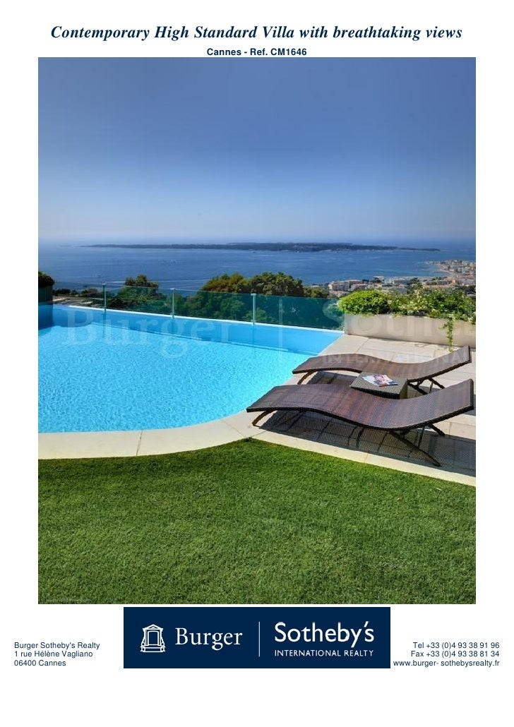 Contemporary High Standard Villa with breathtaking views                               Cannes - Ref. CM1646     Burger Sot...