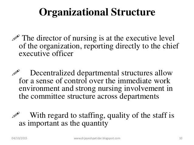 Organizational Structure  The director of nursing is at the executive level of the organization, reporting directly to th...