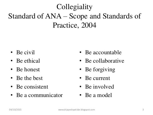 Collegiality Standard of ANA – Scope and Standards of Practice, 2004 • Be civil • Be ethical • Be honest • Be the best • B...