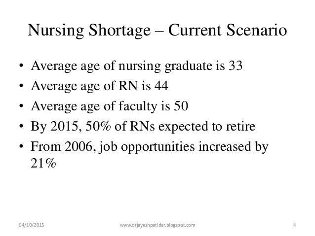 Nursing Shortage – Current Scenario • Average age of nursing graduate is 33 • Average age of RN is 44 • Average age of fac...
