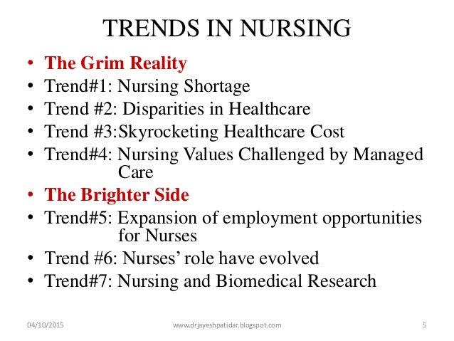 TRENDS IN NURSING • The Grim Reality • Trend#1: Nursing Shortage • Trend #2: Disparities in Healthcare • Trend #3:Skyrocke...