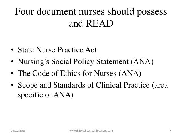 Four document nurses should possess and READ • State Nurse Practice Act • Nursing's Social Policy Statement (ANA) • The Co...