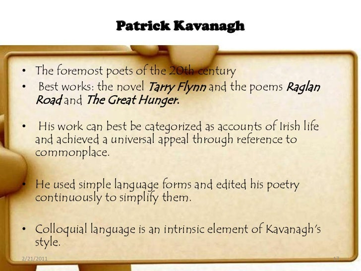 essay on poetry of patrick kavanagh