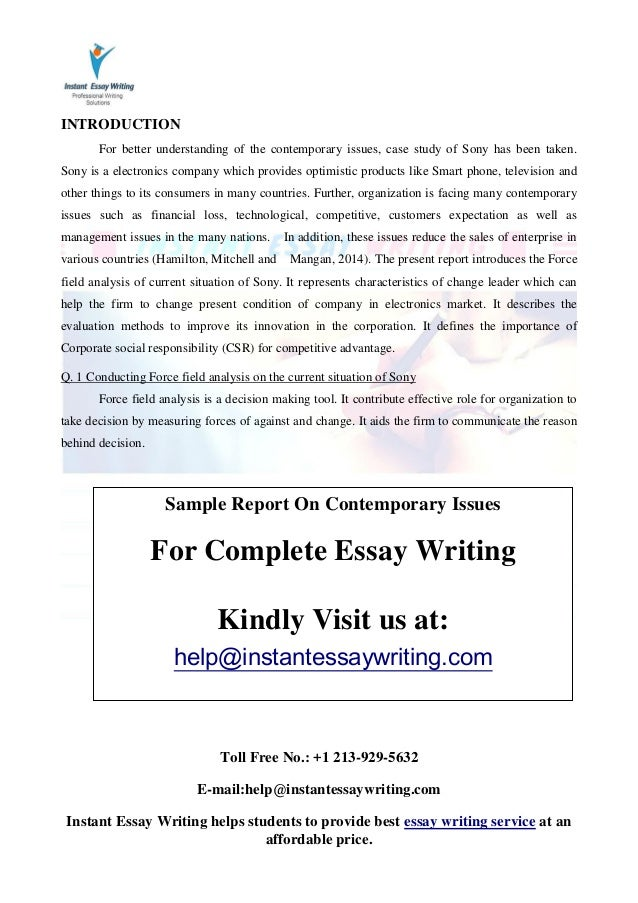analysis of issues essay