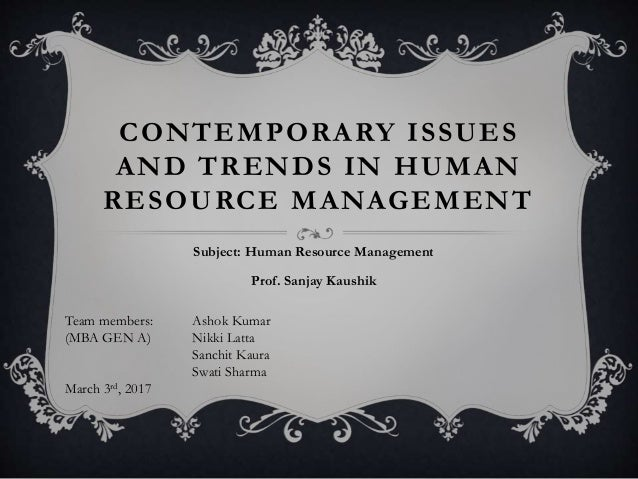 Contemporary issues on human resources