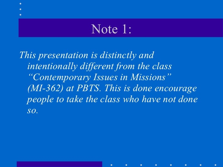 Contemporary issues in missions 1 Slide 2
